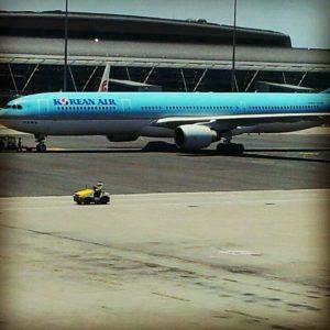 在往美国的飞机上