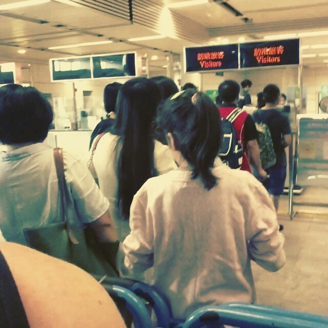 Undercover video taken at the Hong Kong / shenzhen customs line,  entering into Hong Kong now,  the lines keep getting longer and longer.... Haven't crossed into Hong Kong since May 8! Trapped in mainland China for so long haha