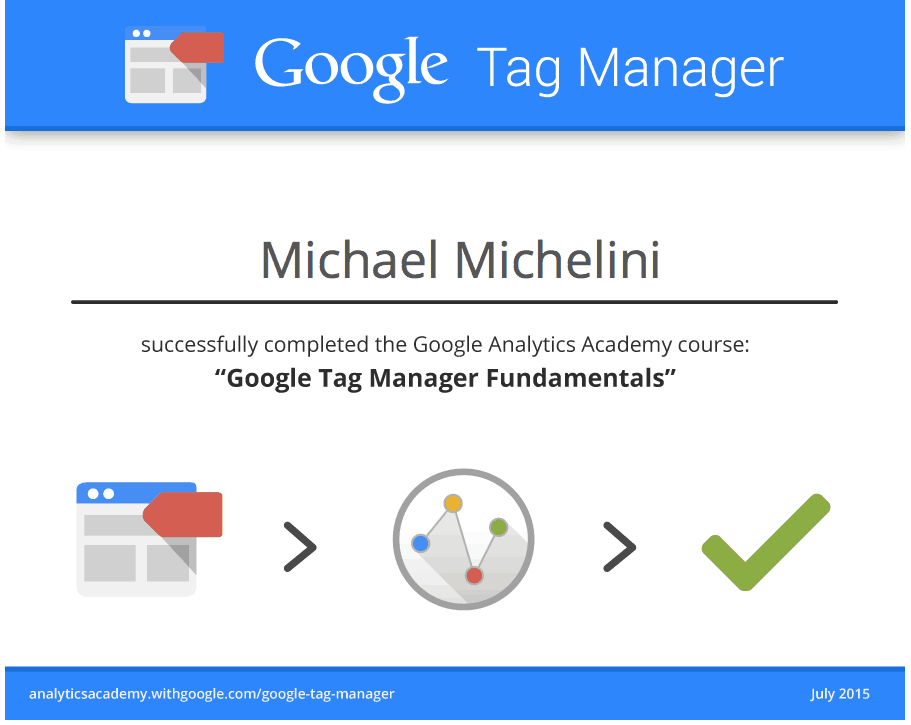 certificate of passing google tag manager course