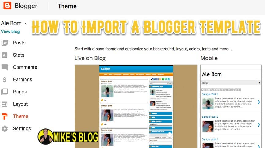 Import Your Blogger Template