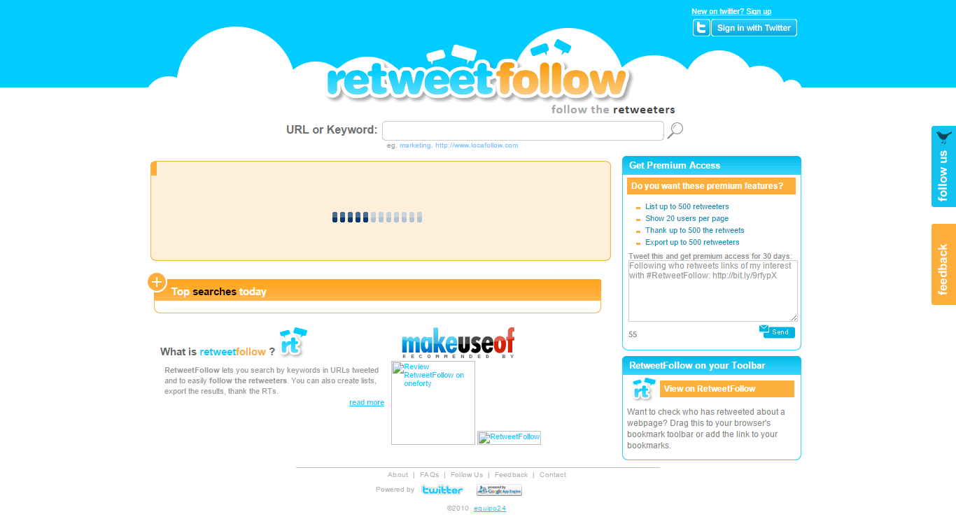 RetweetFollow lets you search by keywords in URLs tweeted and to easily follow the retweeters