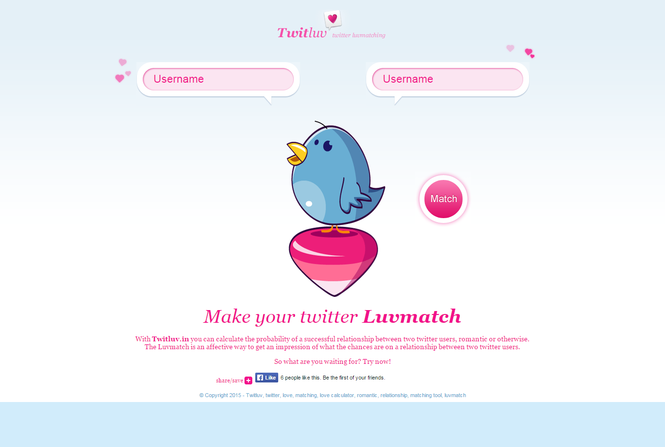 TwitLuv.in - find compatibility between you and your friend or follower