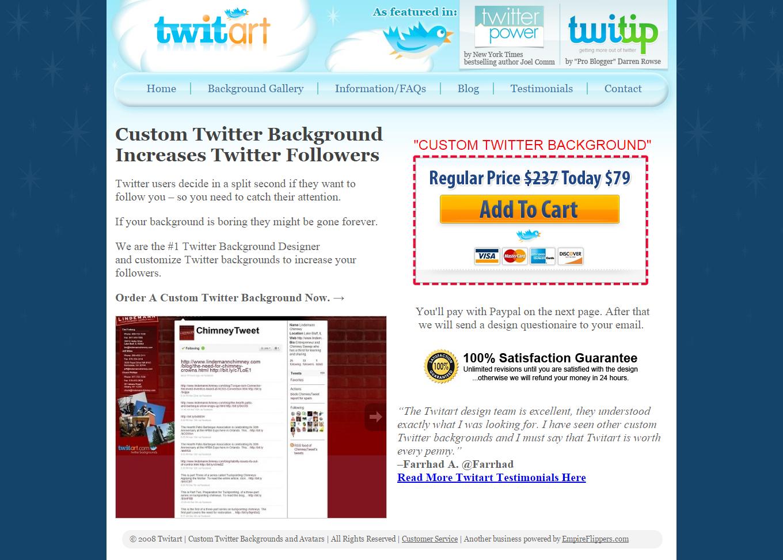 TwitArt offers custom Twitter avatars and backgrounds