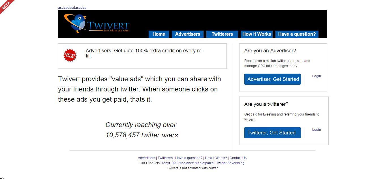 Twivert.com - an advertising network for twitter