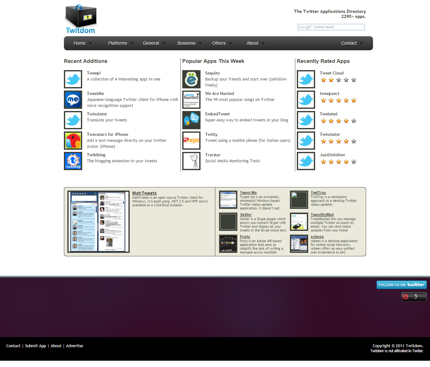 A comprehensive database of Twitter Applications with thousands of apps categorized, tagged, and ranked.